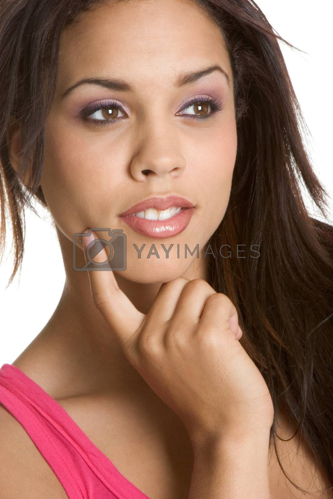 Pretty thinking african american woman