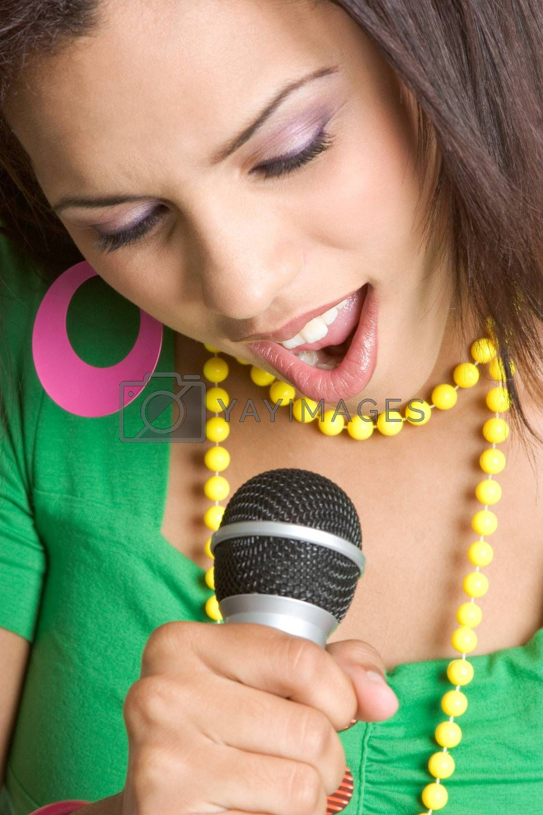 Beautiful young black woman singing
