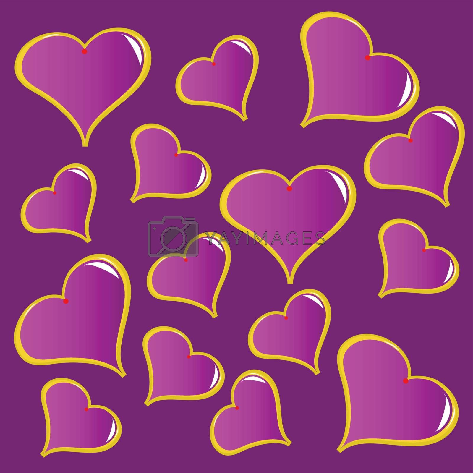 An abstract purple vector valentines background with a series of red hearts on a red background