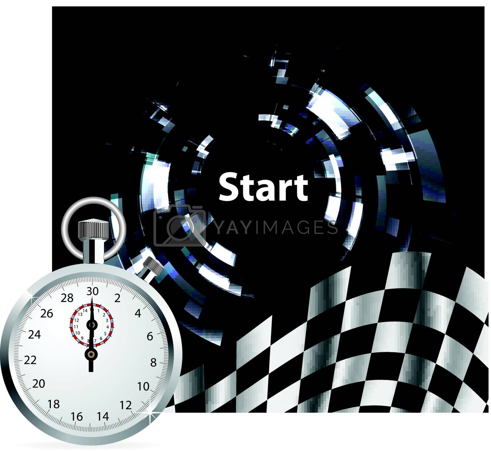 Checkered flag with a stopwatch on white background