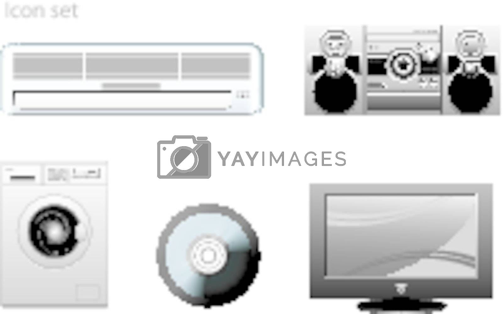 appliance vector icons set on white background