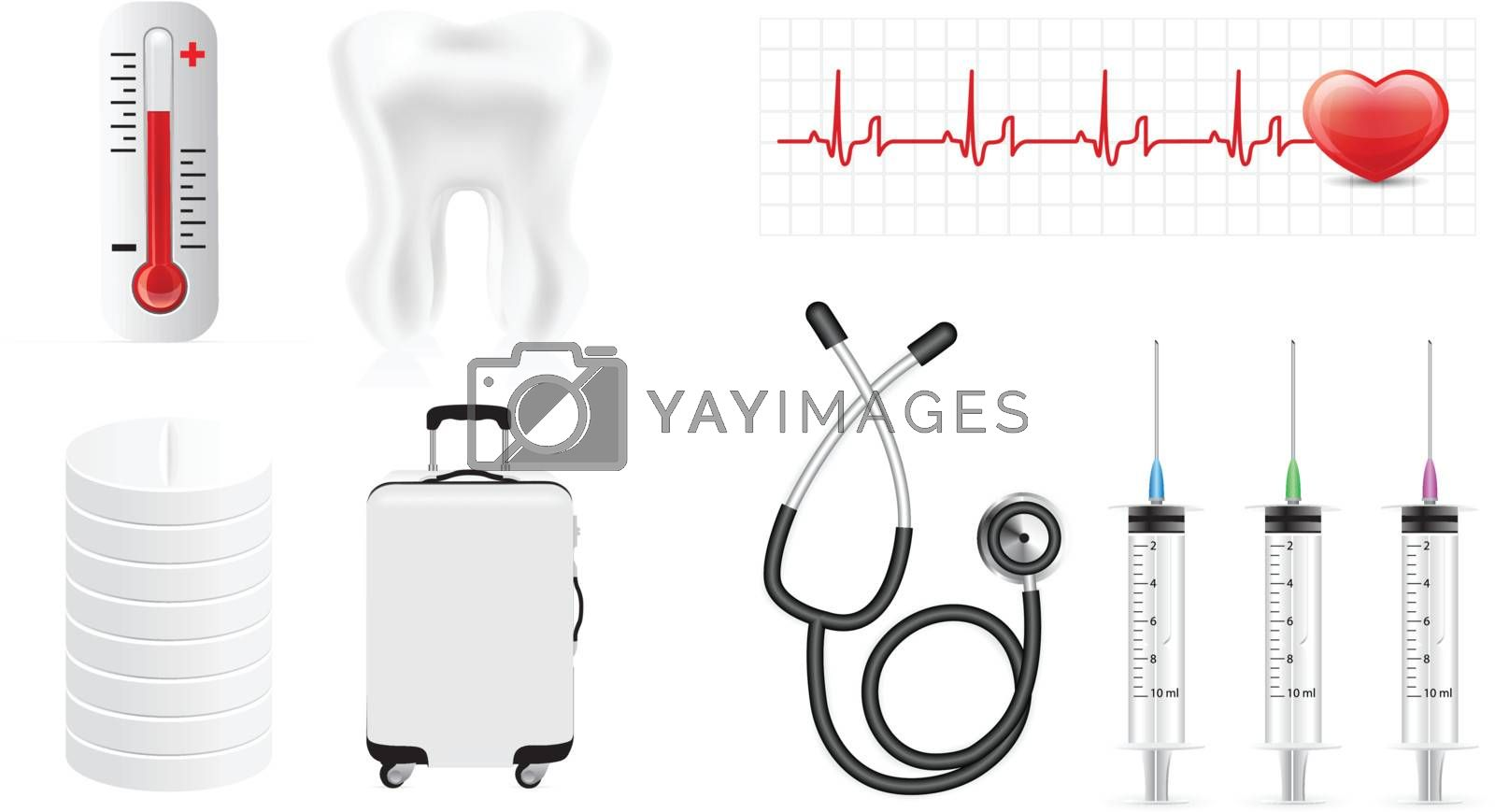 Medicine icon set isolated on white background