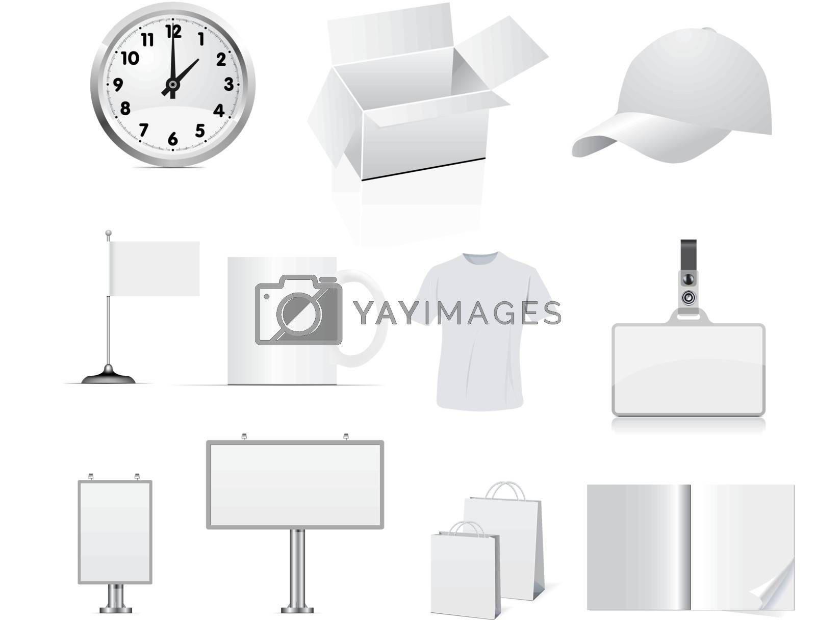 elements of corporate identity for the company on white