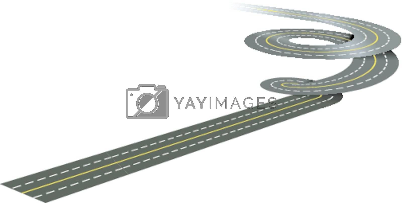 Spiral road concept illustration isolated on white background