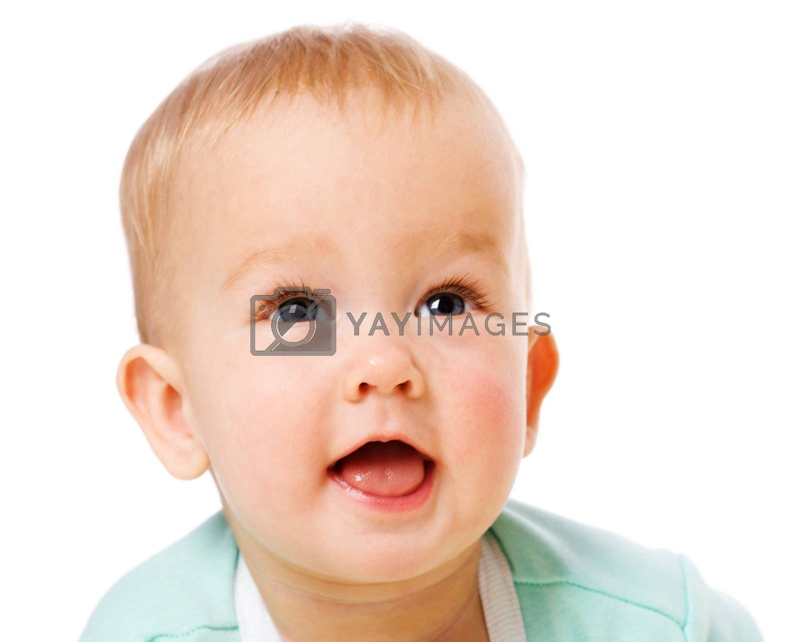Happy Baby closeup portrait  isolated on white