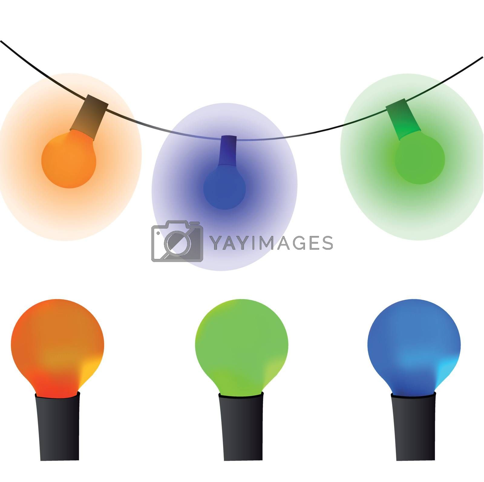 Old lamp garland vector wallpaper by Diversphoto