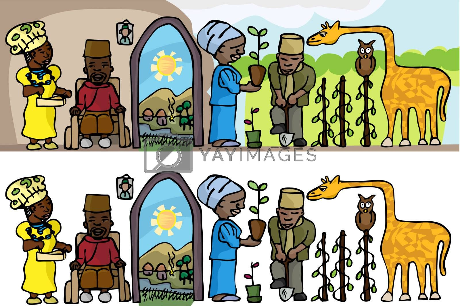 Osi-Ilorin-inspired contemporary rural lifestyle scene as a bas-relief cartoon or stand-alone objects.