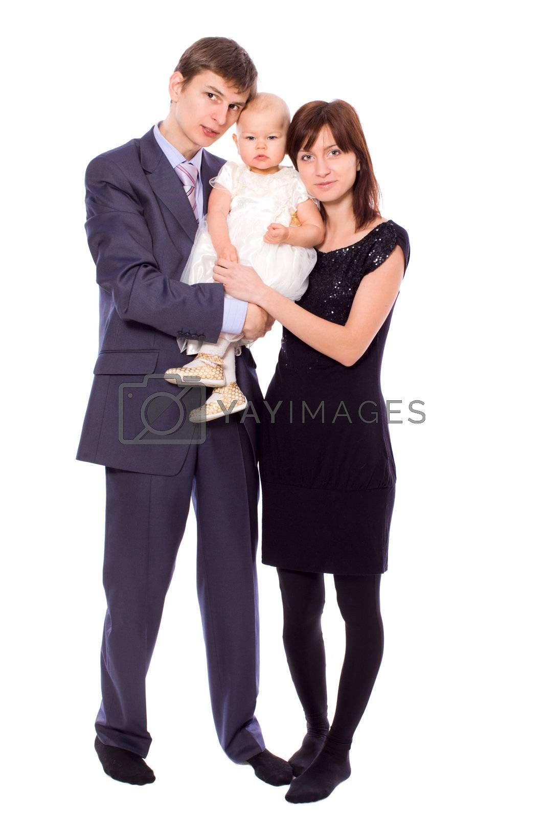 Happy Family holding together isolated on white