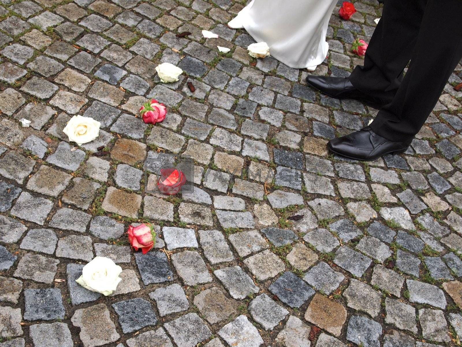 Wedding couple and roses