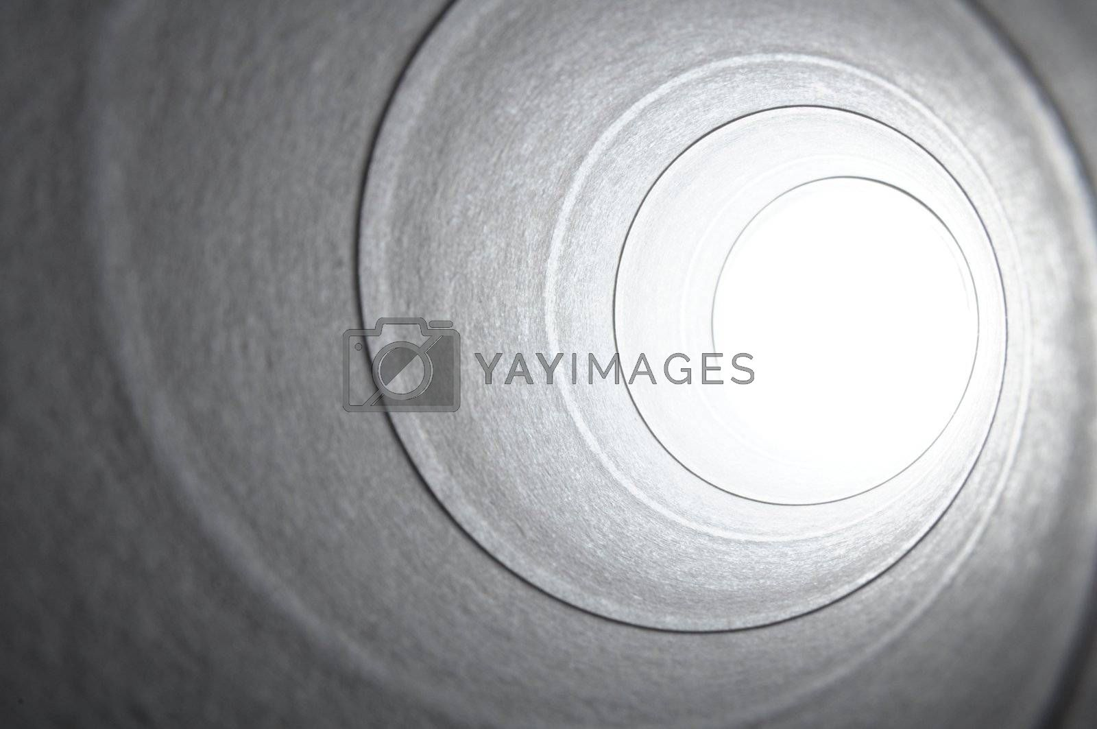 abstract dark and bright spiral background with white copyspace