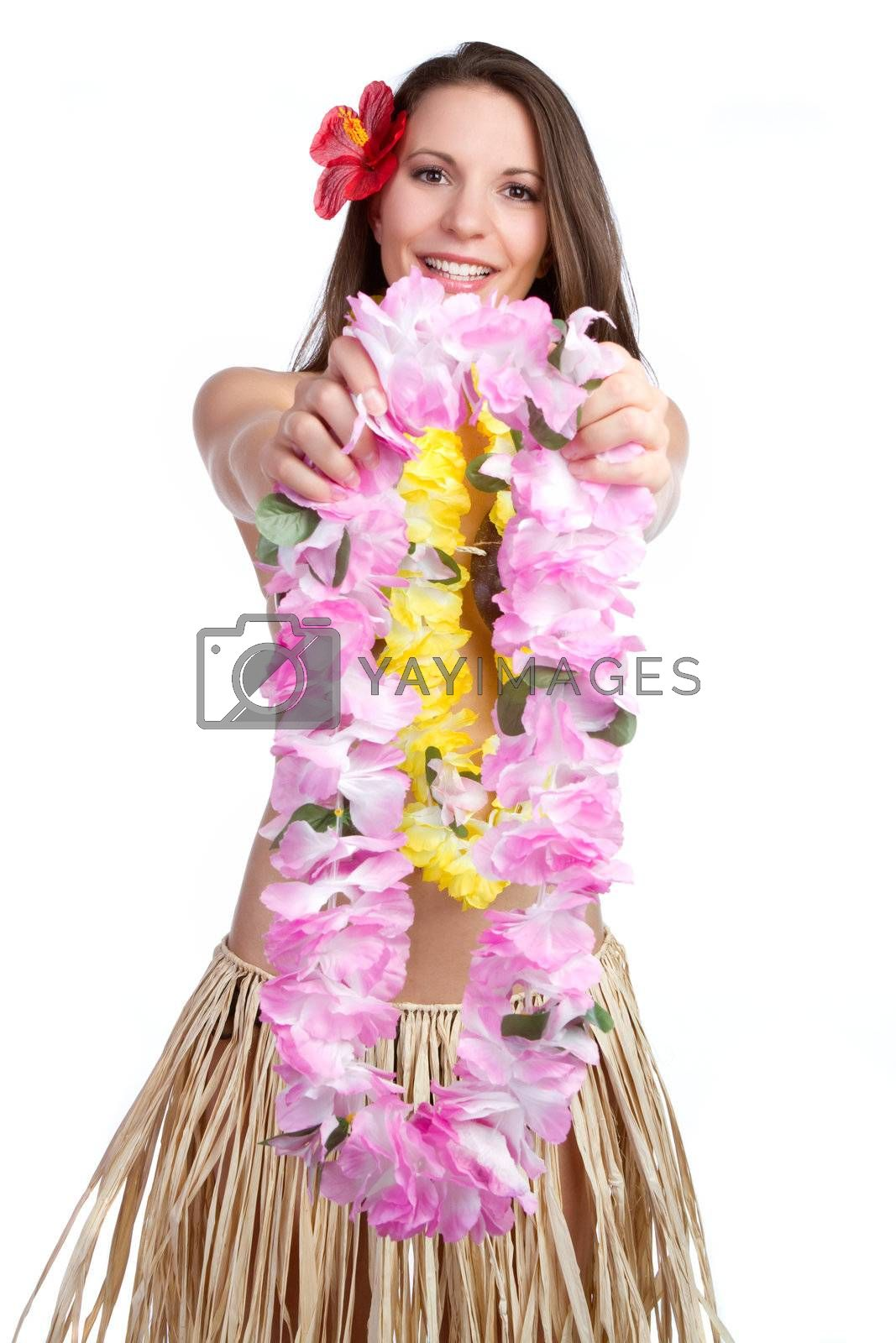 Beautiful girl holding tropical lei