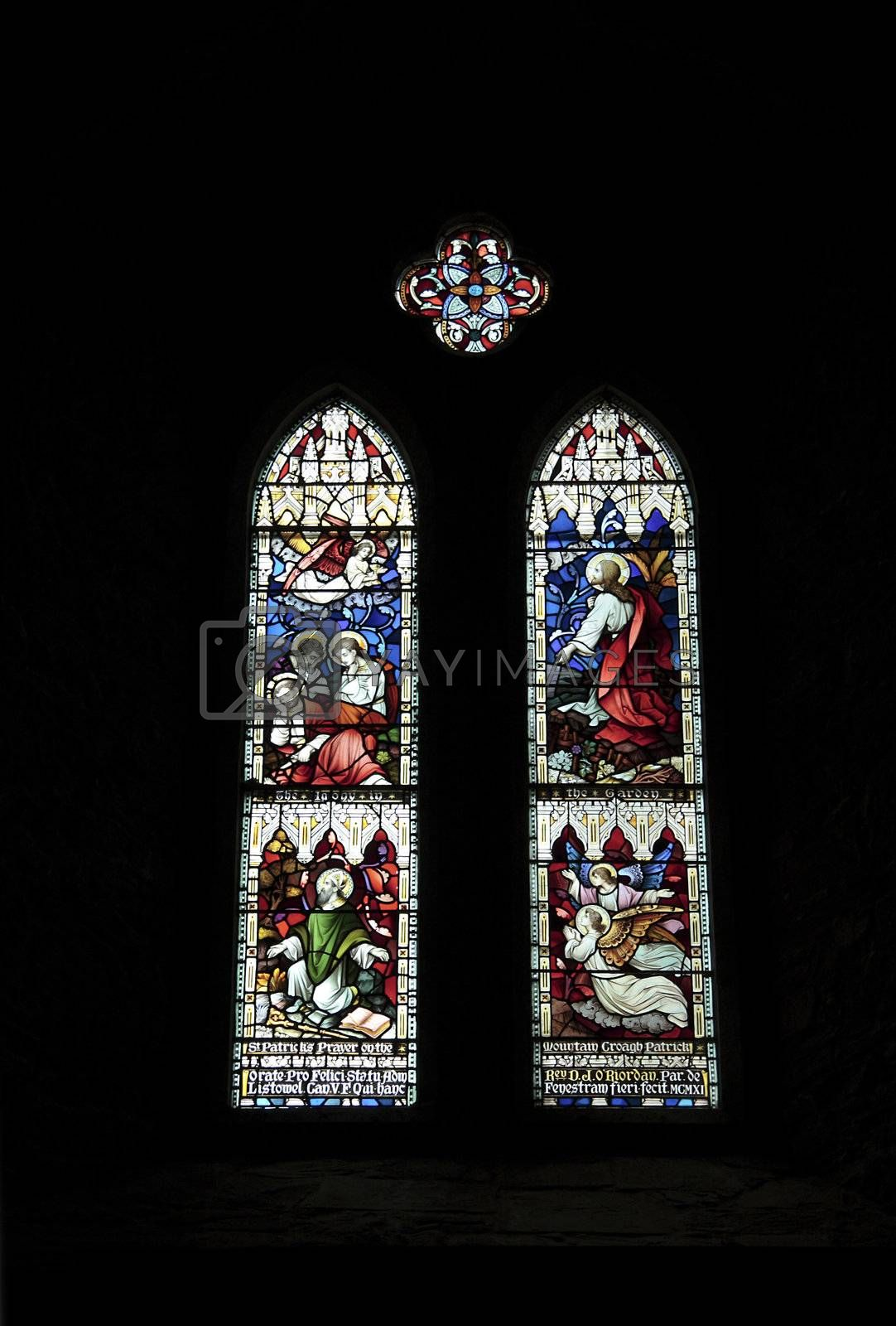 a set of stained glass windows