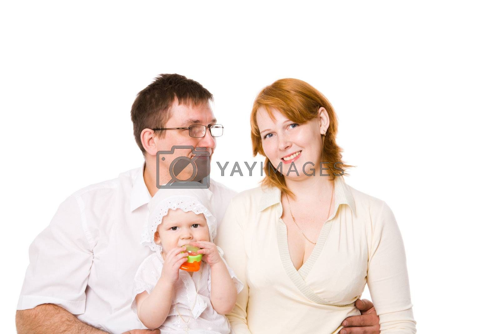 Happy Family of mother father and one year baby isolated