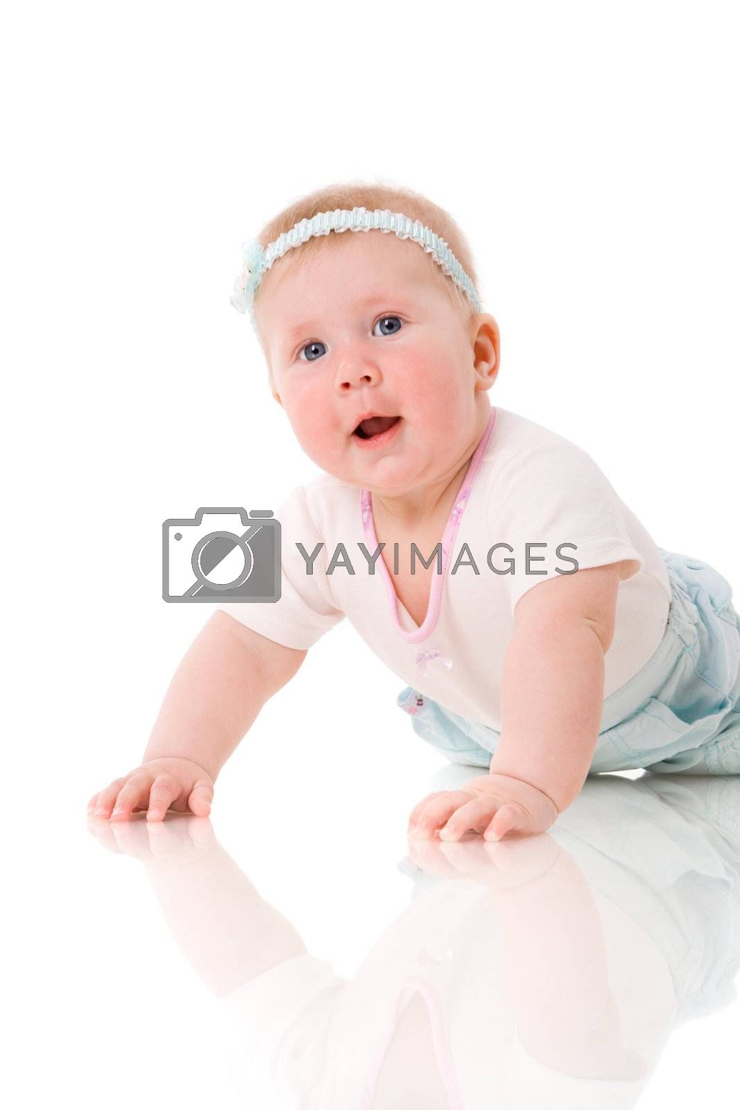 Six month Baby girl smiling isolated on white