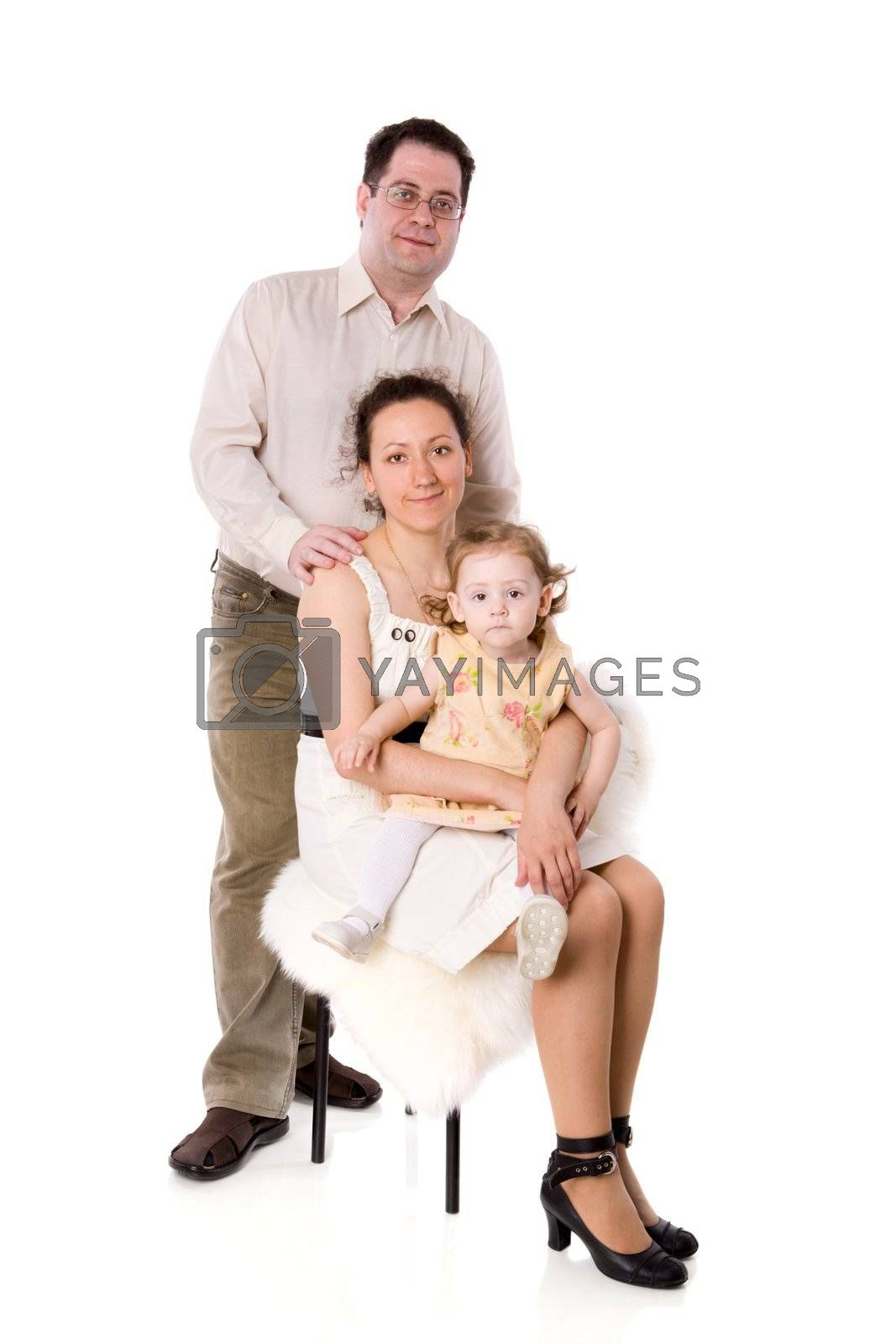 Happy Family with daughter together isolated on white