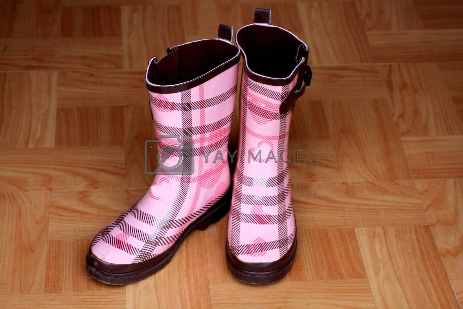 Adorable pink rain boots on wooden floor next to door. Women's footwear for the rainy and cold season. Outdoor boots for rain.