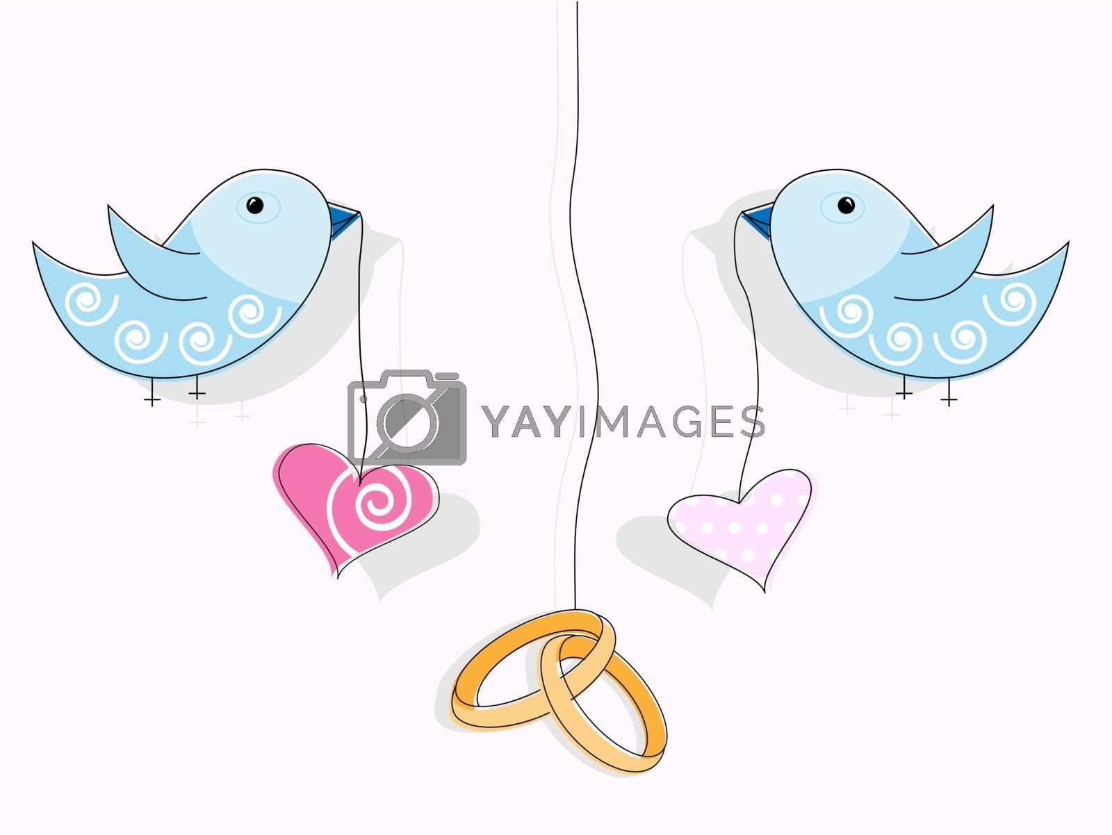 Vector pattern for wedding invitation. Wedding rings, hearts and blue birds