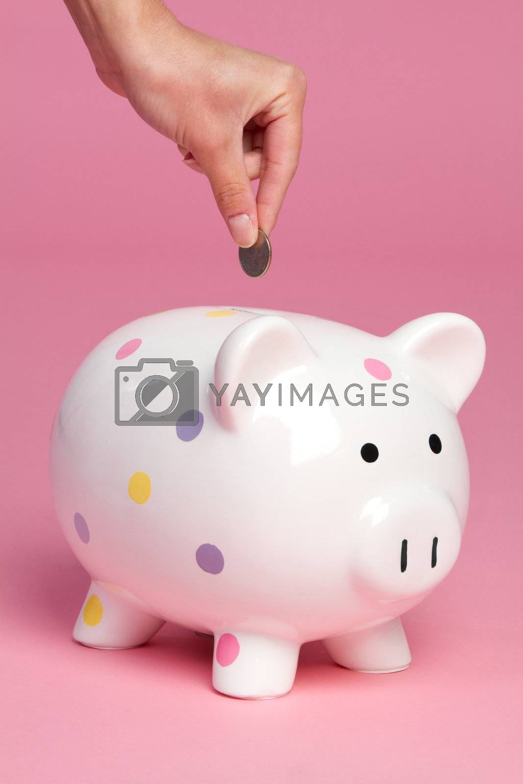 Person dropping coin into piggy bank