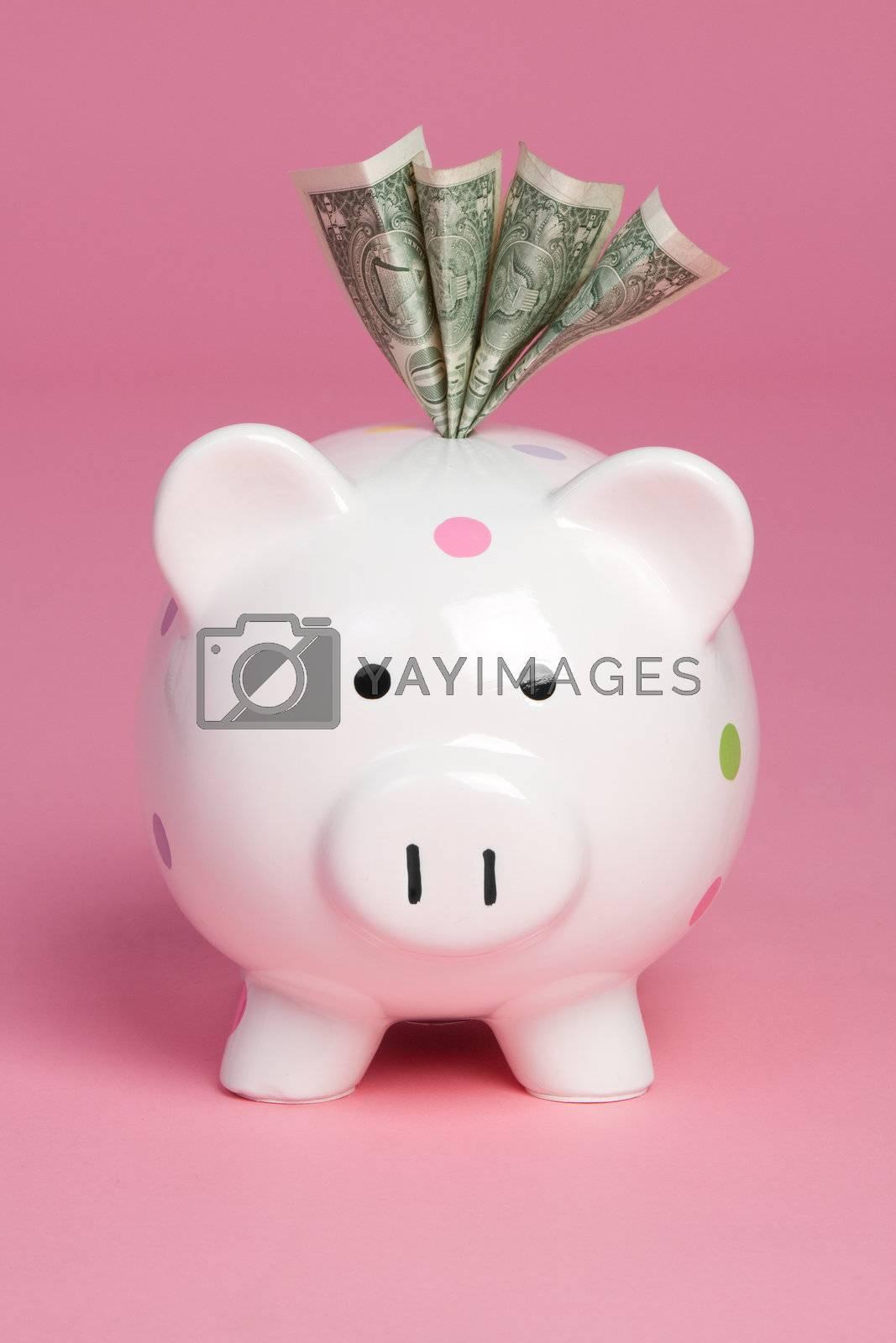 Piggy bank saving cash money