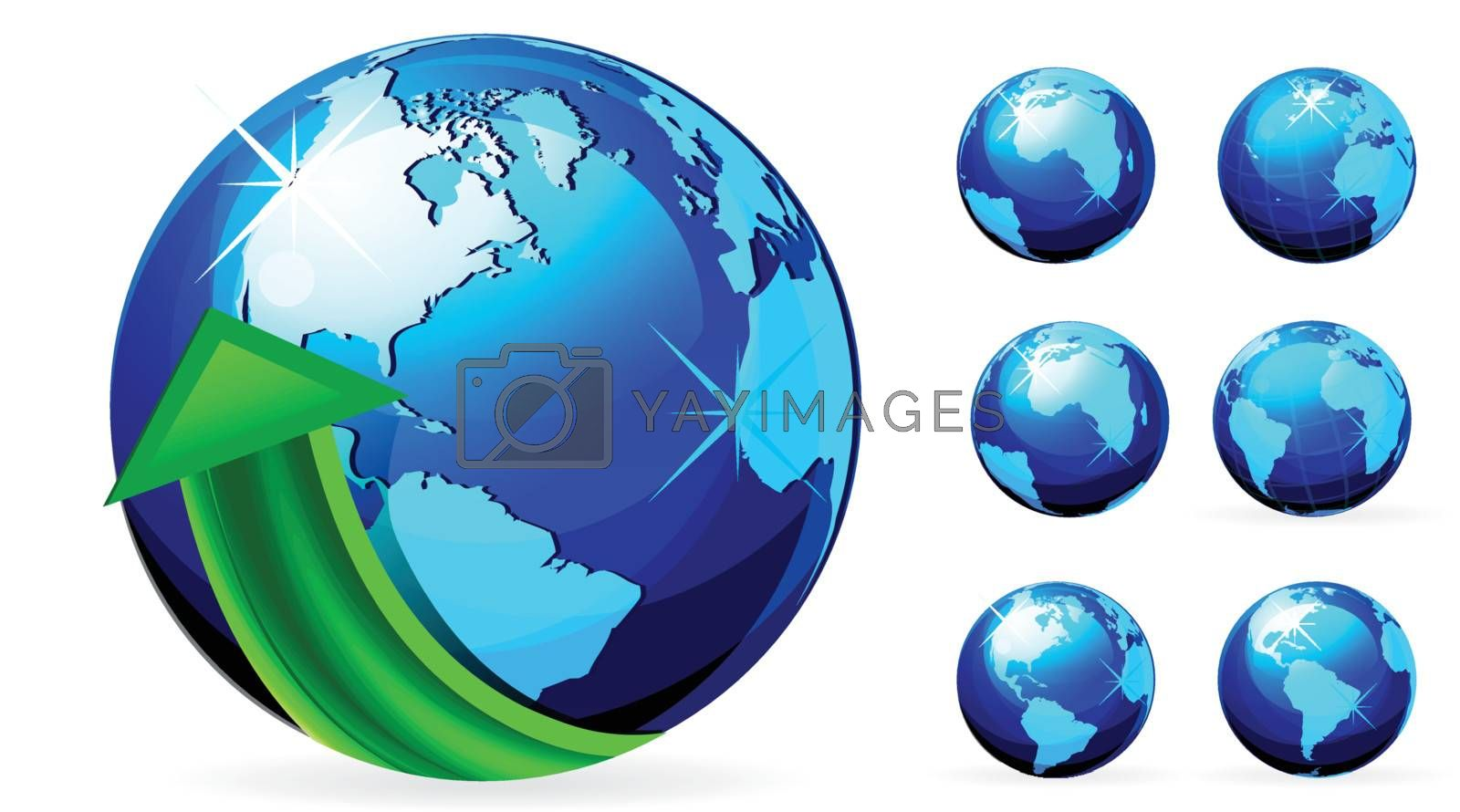 globe with arrows vector illustration on white background