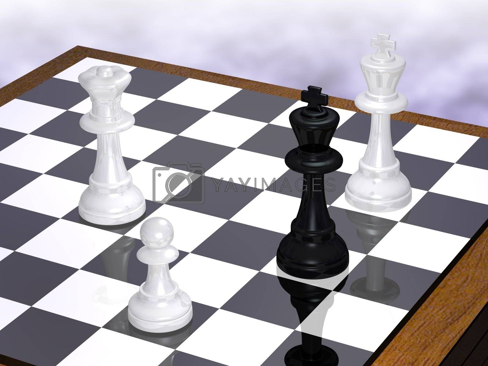 The end of a chess party - white begin and win