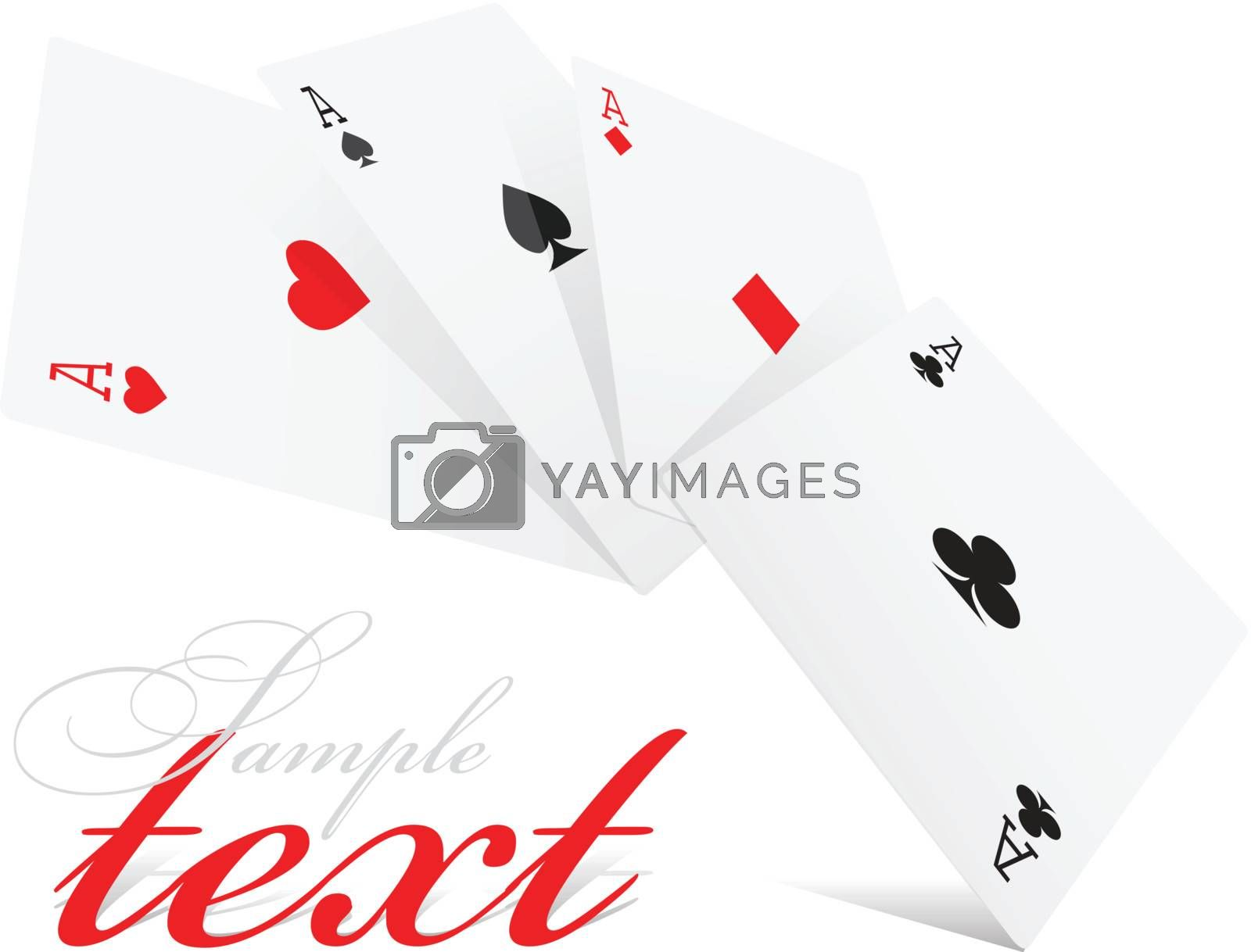 Four aces of different card suits on white