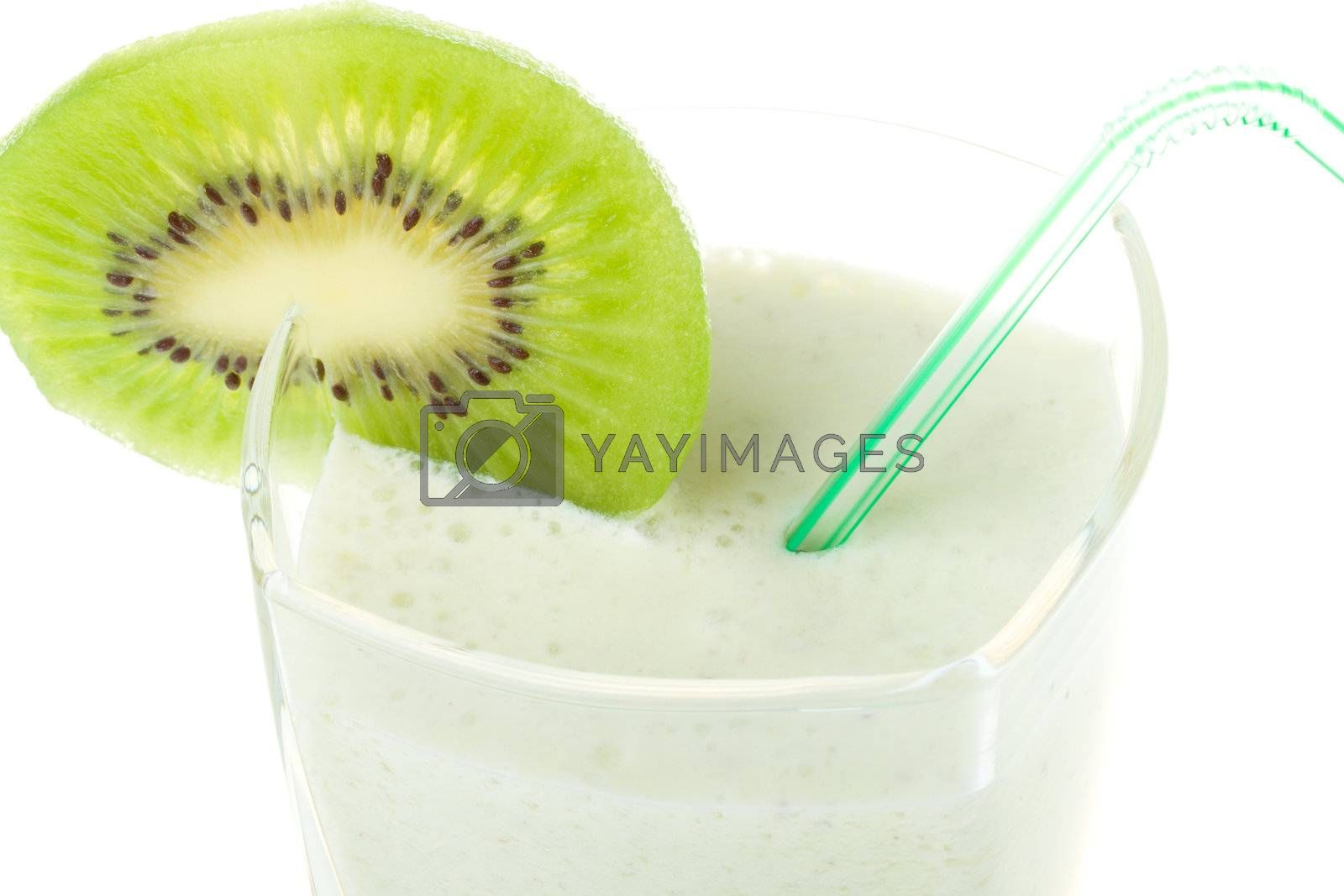 close-up milk shake with kiwi and straw, isolated on white