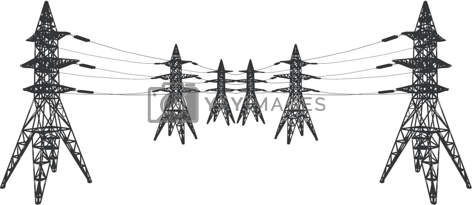 Vector silhouette of Power lines and electric pylons on white.