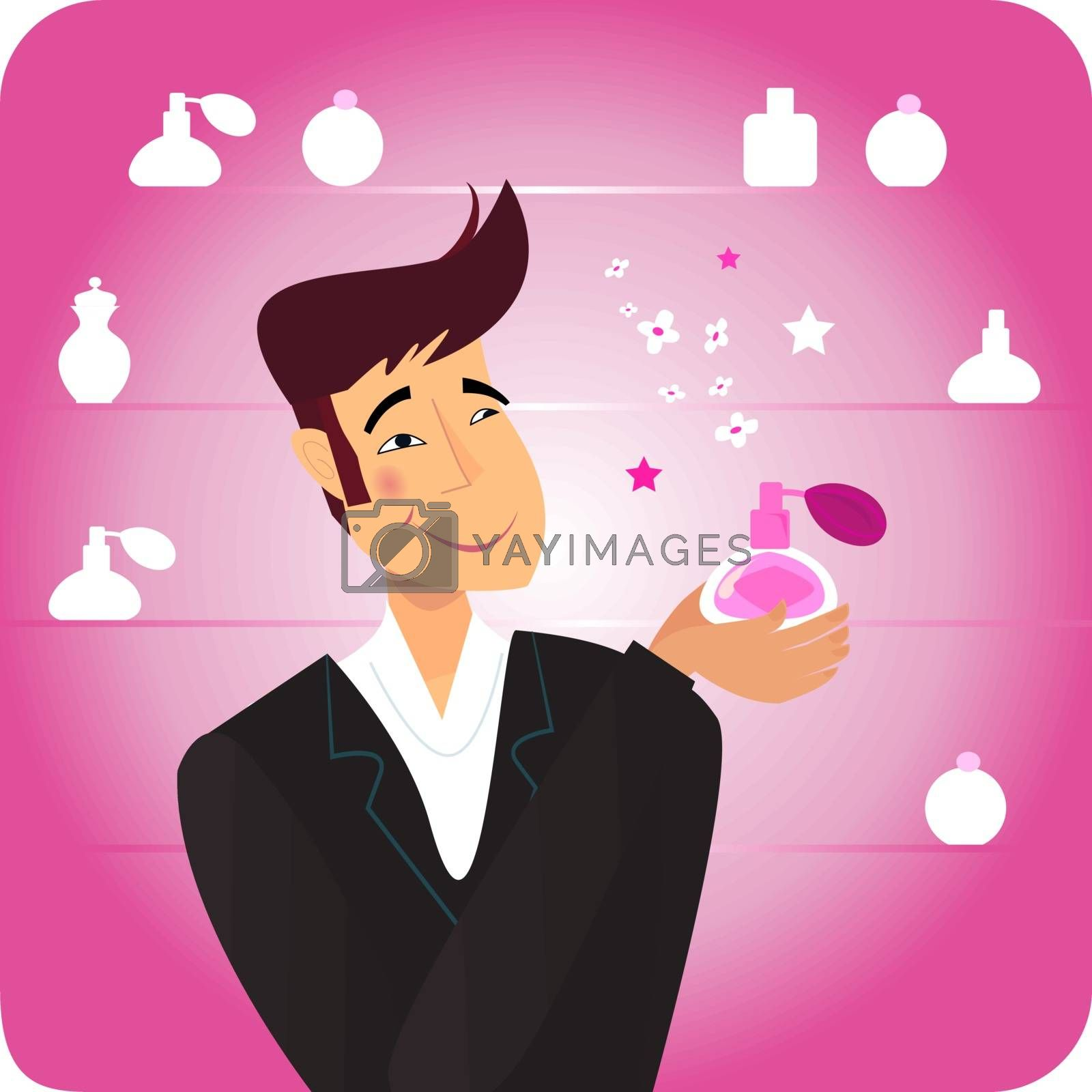 Happy man in shopping store with pink perfume. Vector Illustration.