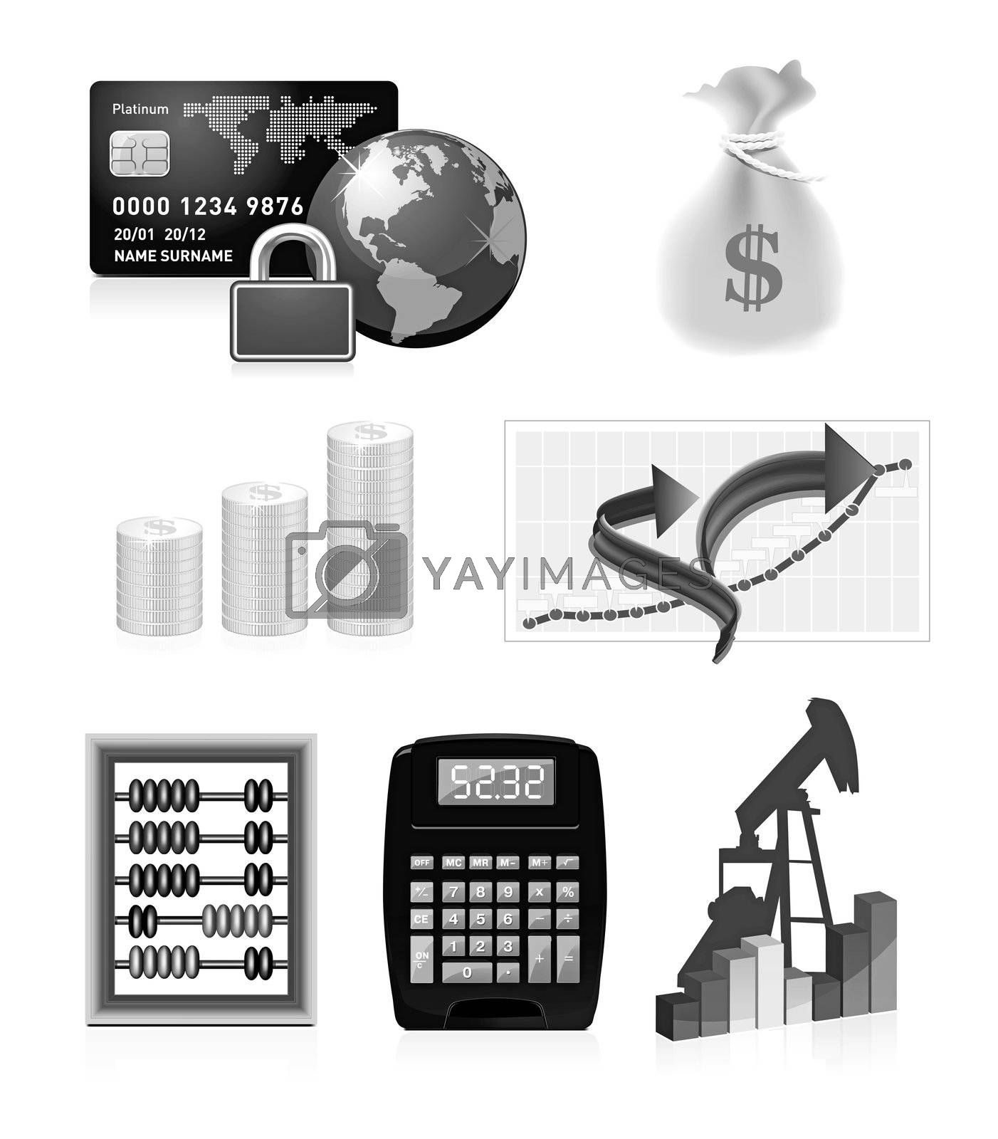 Business Icons teaser isolated on white background