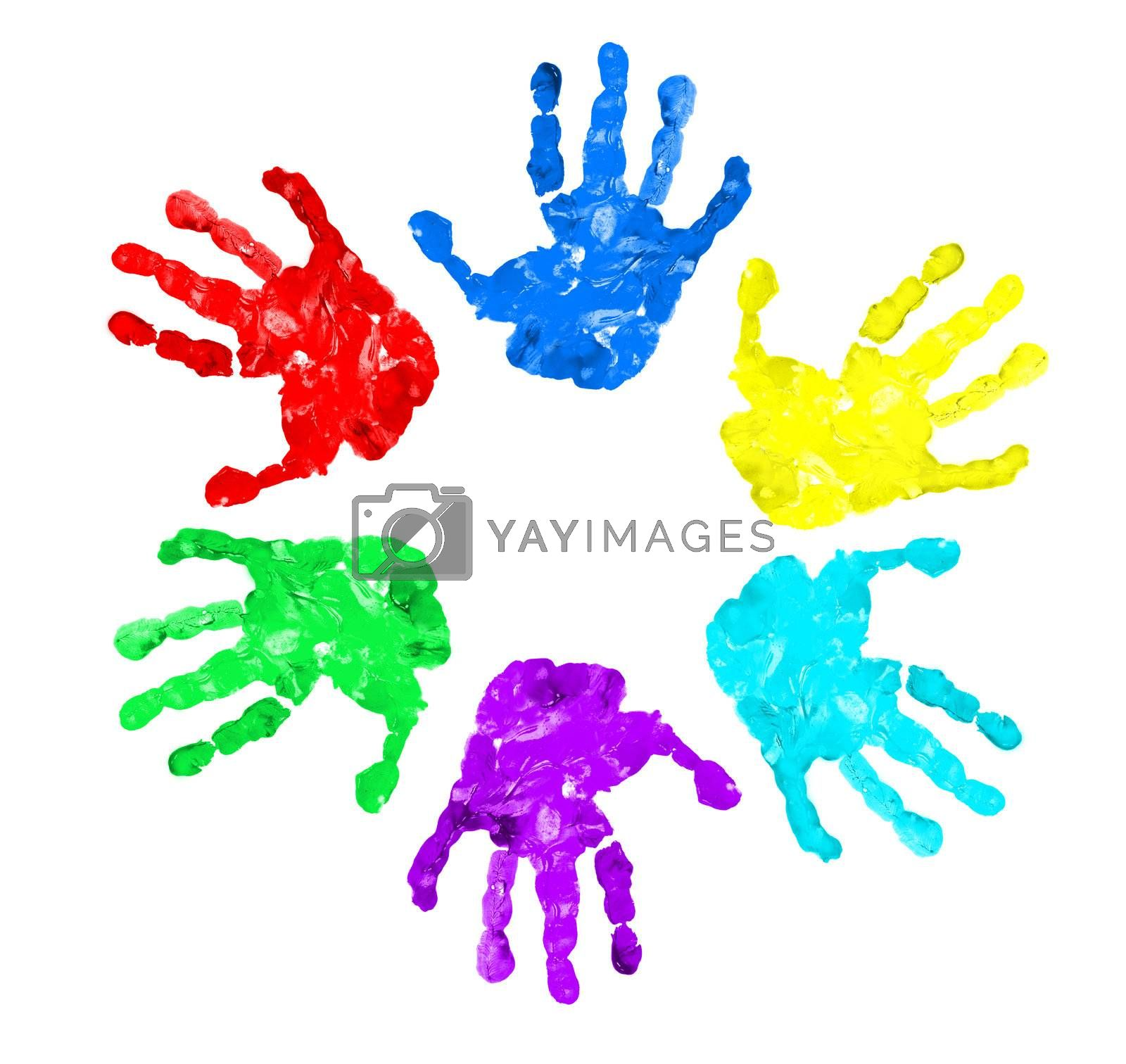 set of hand prints of diffrent colors, isolated on white