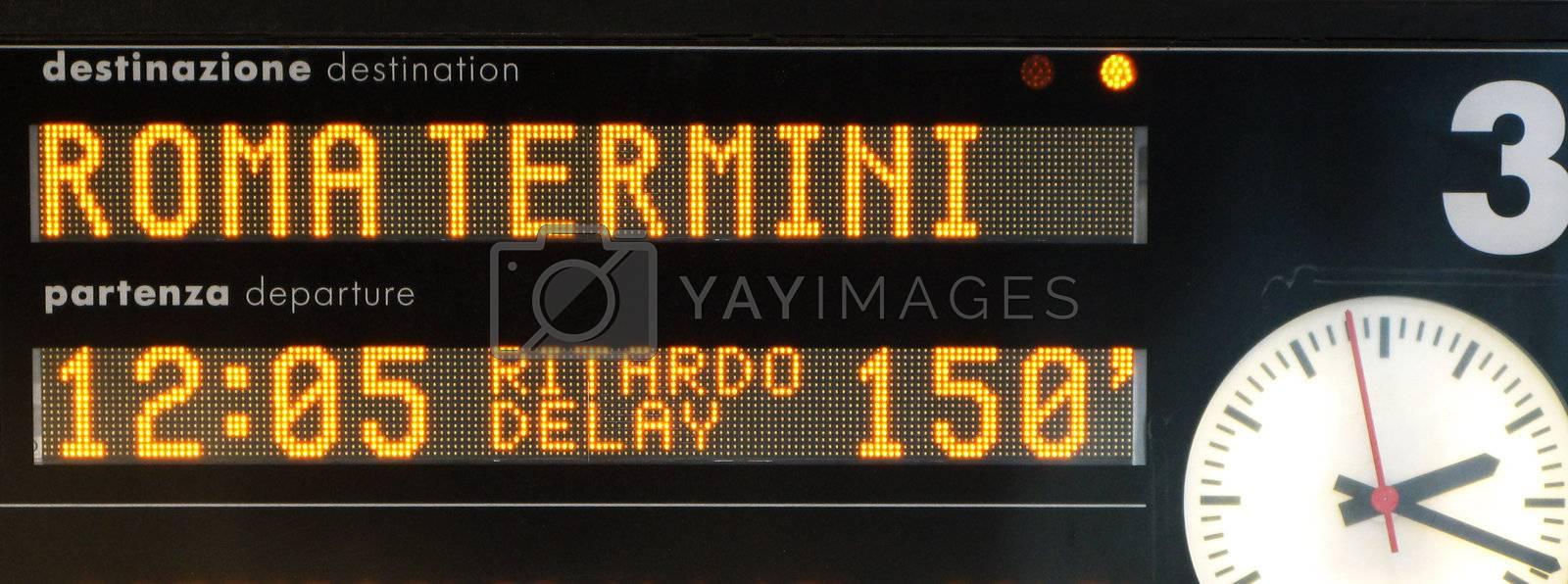 Timetable about train to Rome Termini, delay 150 minutes!