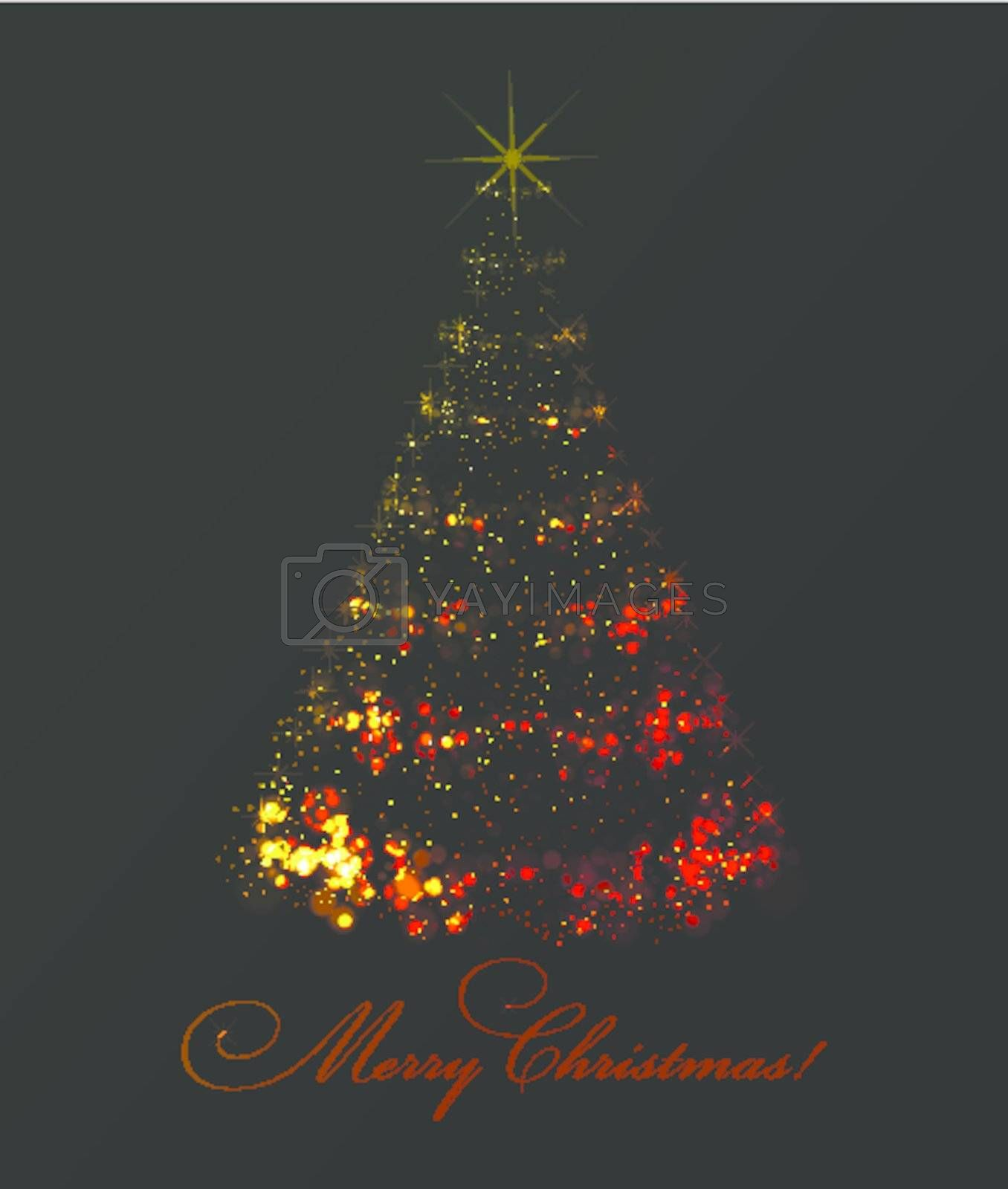 Abstract christmas tree on black background. Vector eps10 illustration. Easy to recolor