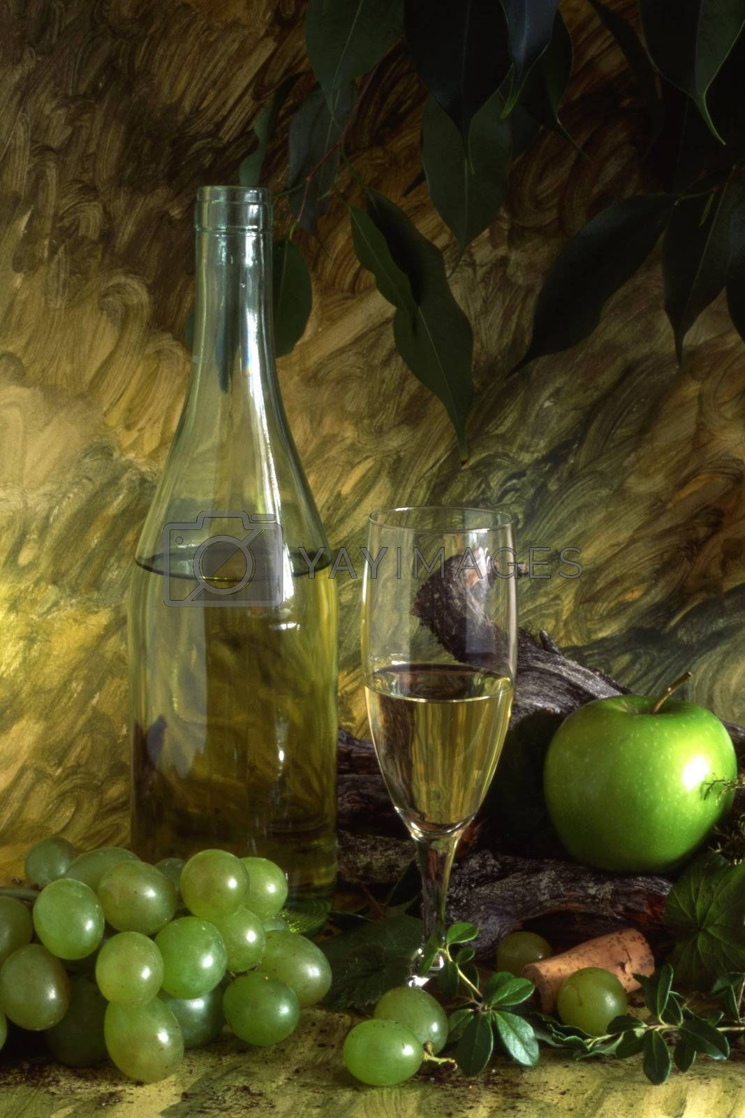 White wine and fruits isolated on painted background
