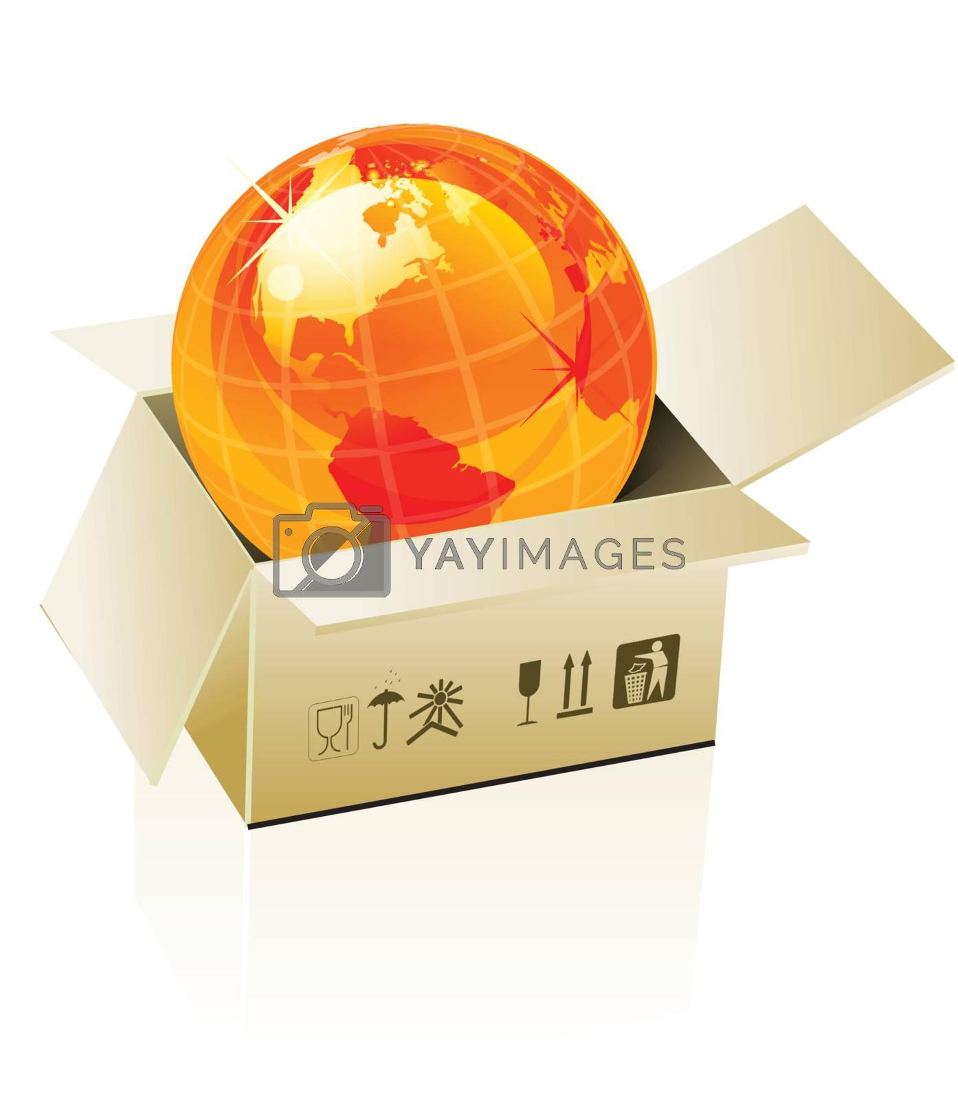 Earth globe in cardboard box on white background