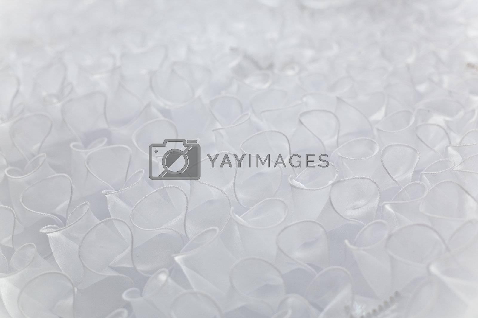 Bottom of fluffy wedding dress as textile background