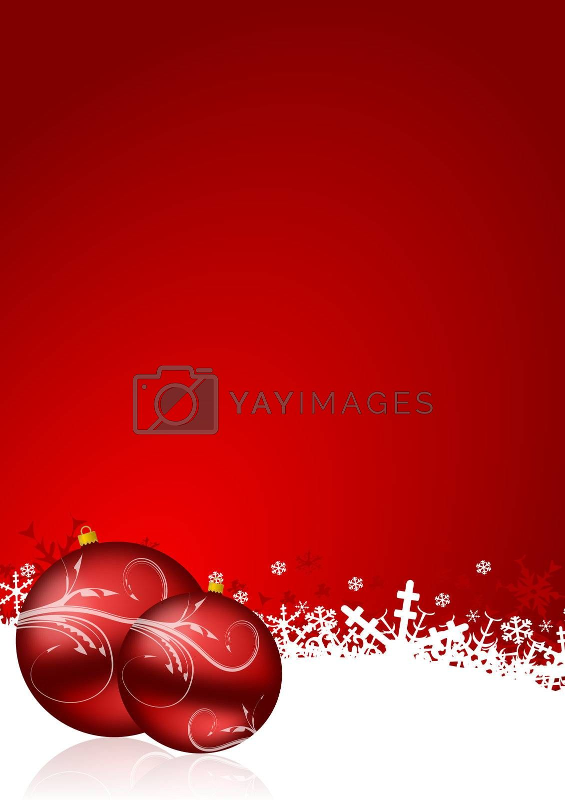 red christmas background with snowflakes and christmas balls