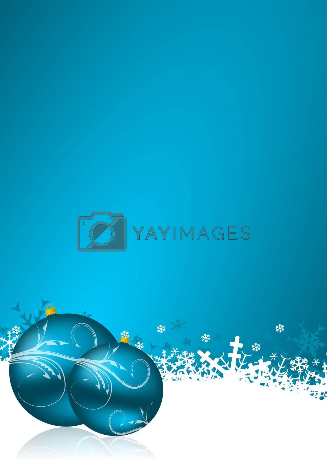 blue christmas background with snowflakes and christmas balls