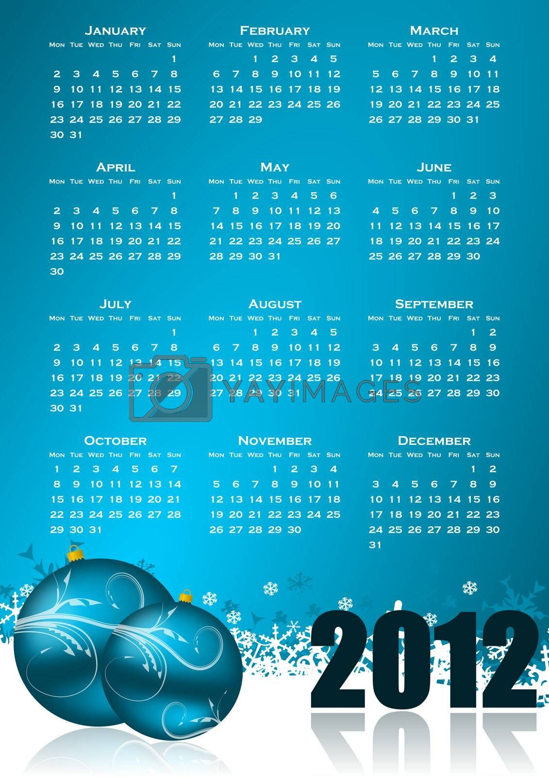 calendar for 2012 year with christmas balls and snowflakes
