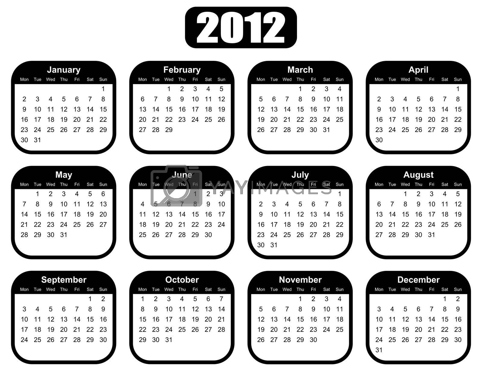 calendar for 2012 year with black boxes