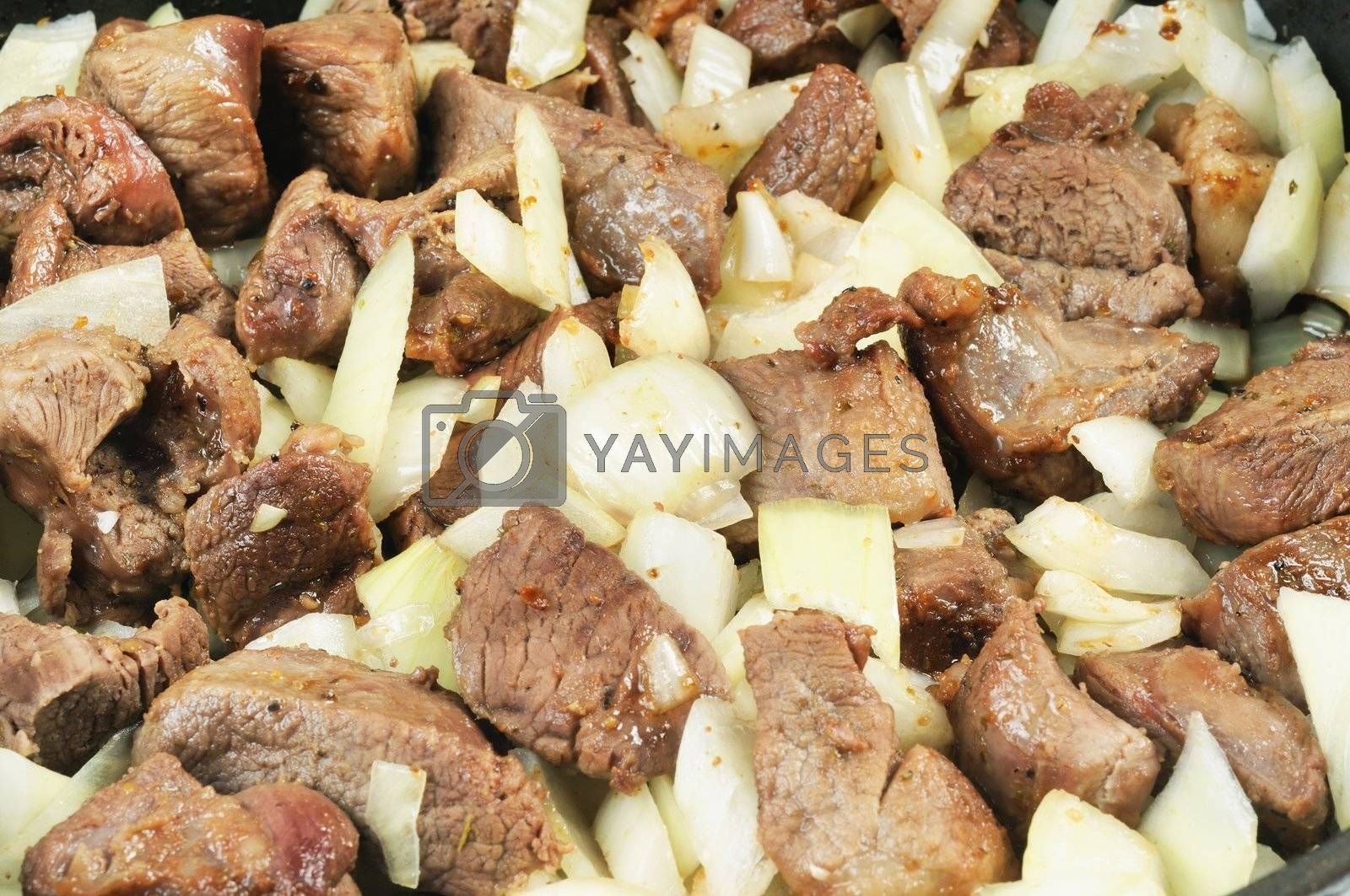 Roasted Meat and onion. Close up. background