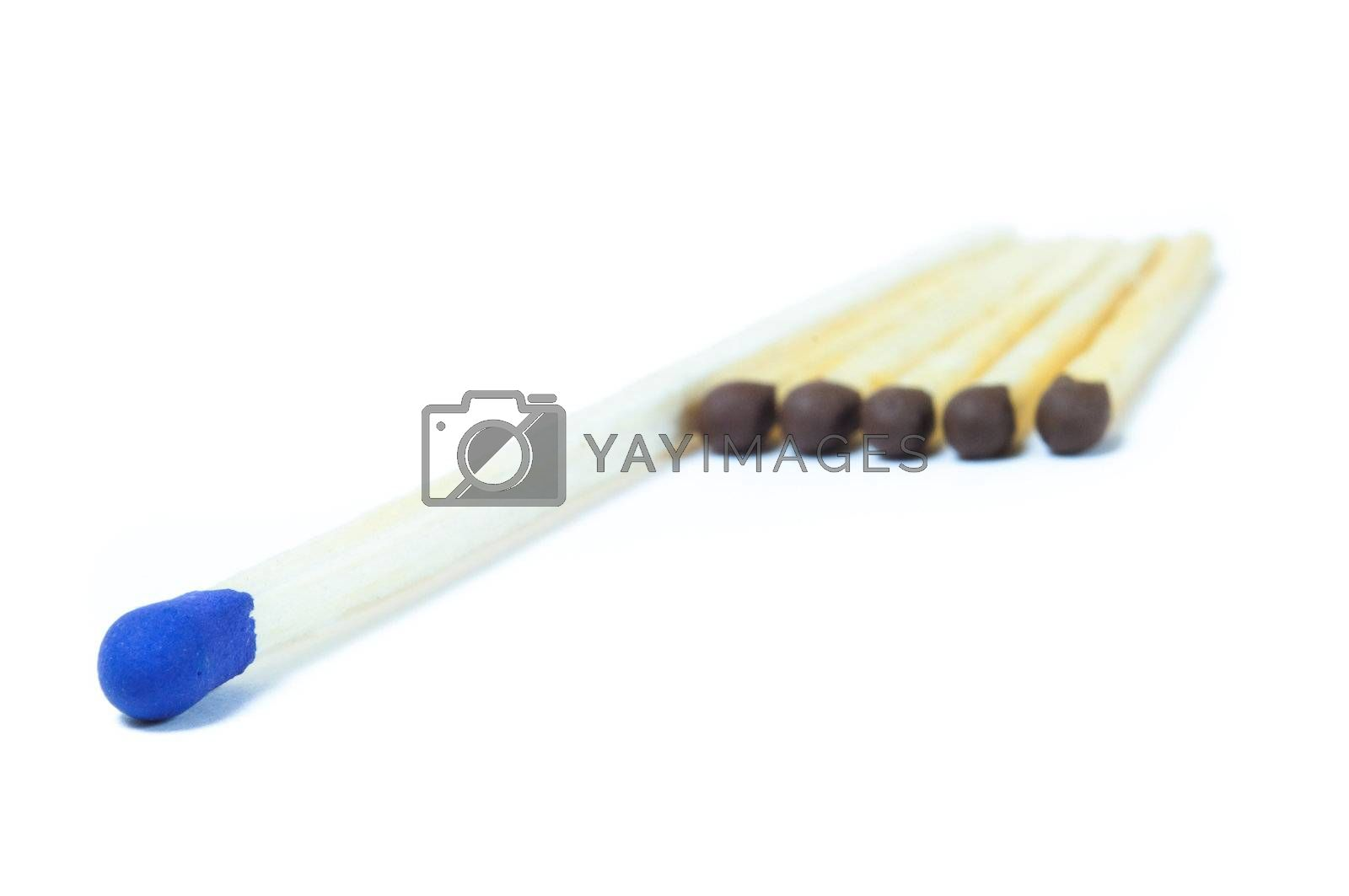 A number of identical matches, among which there is a match differs from their large size