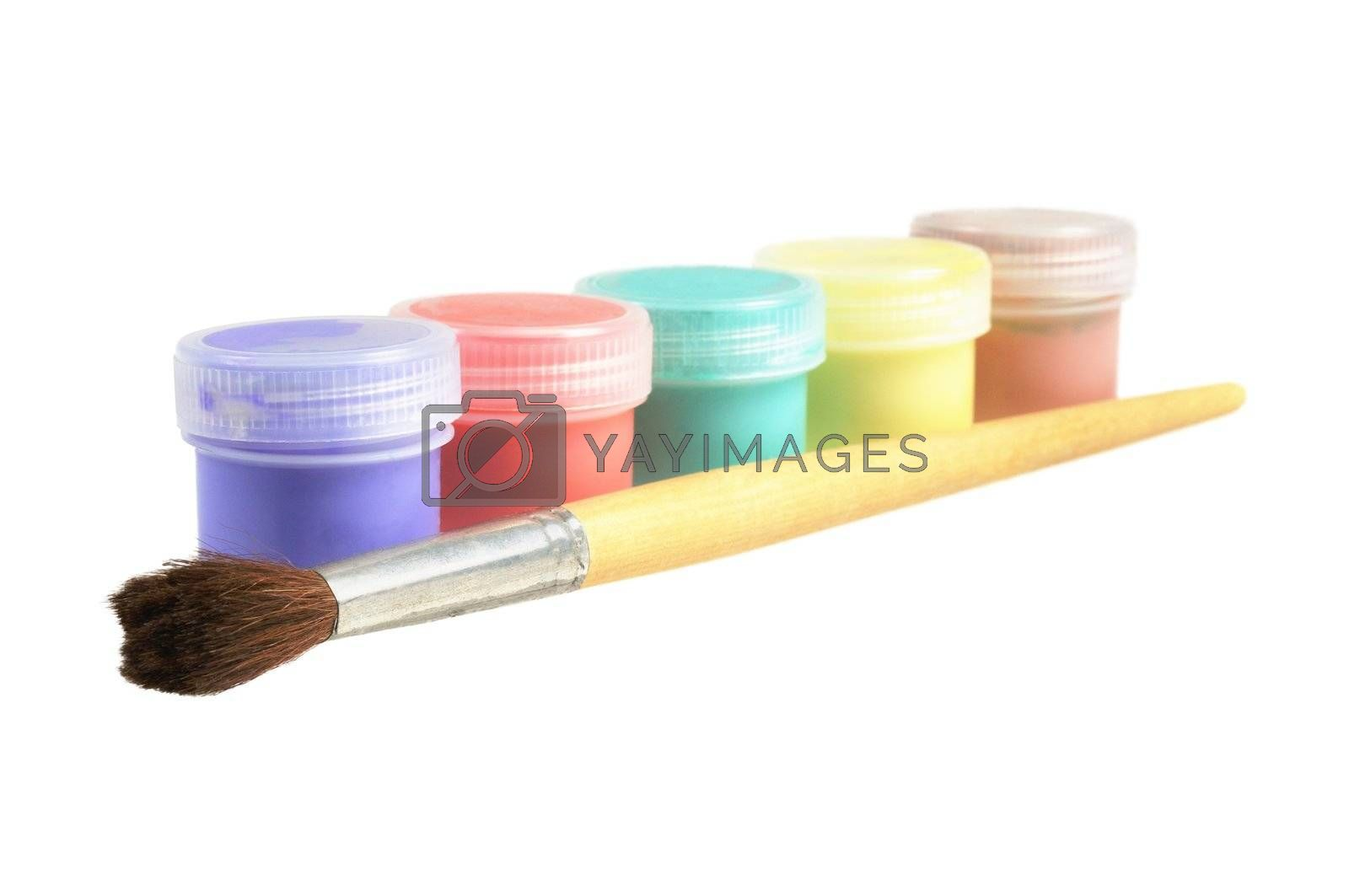 Five cans  of paint and brush. Focus on brush. Isolated  on white.