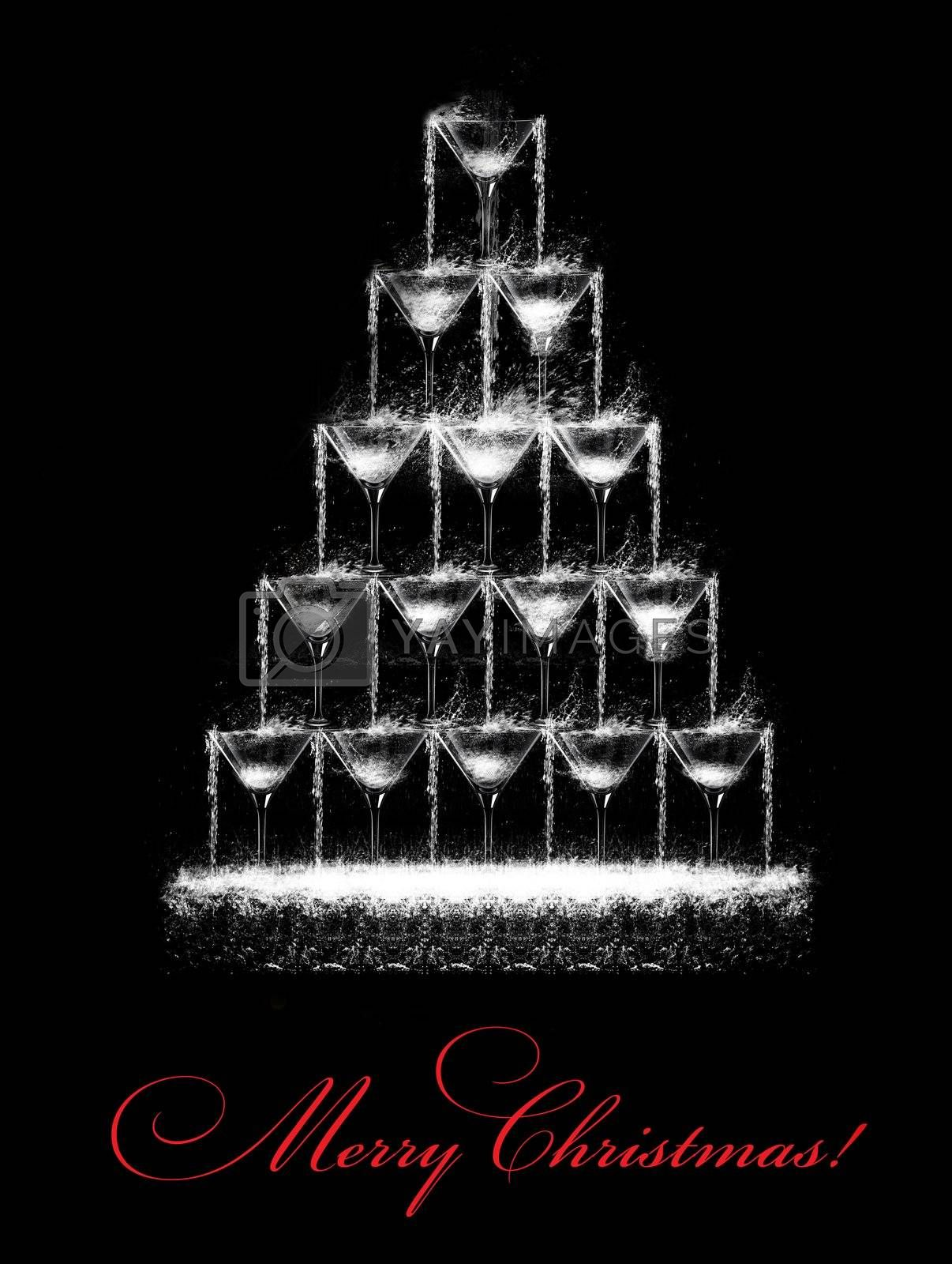 Stylized Christmas tree consisting of wine glasses which pours a drink