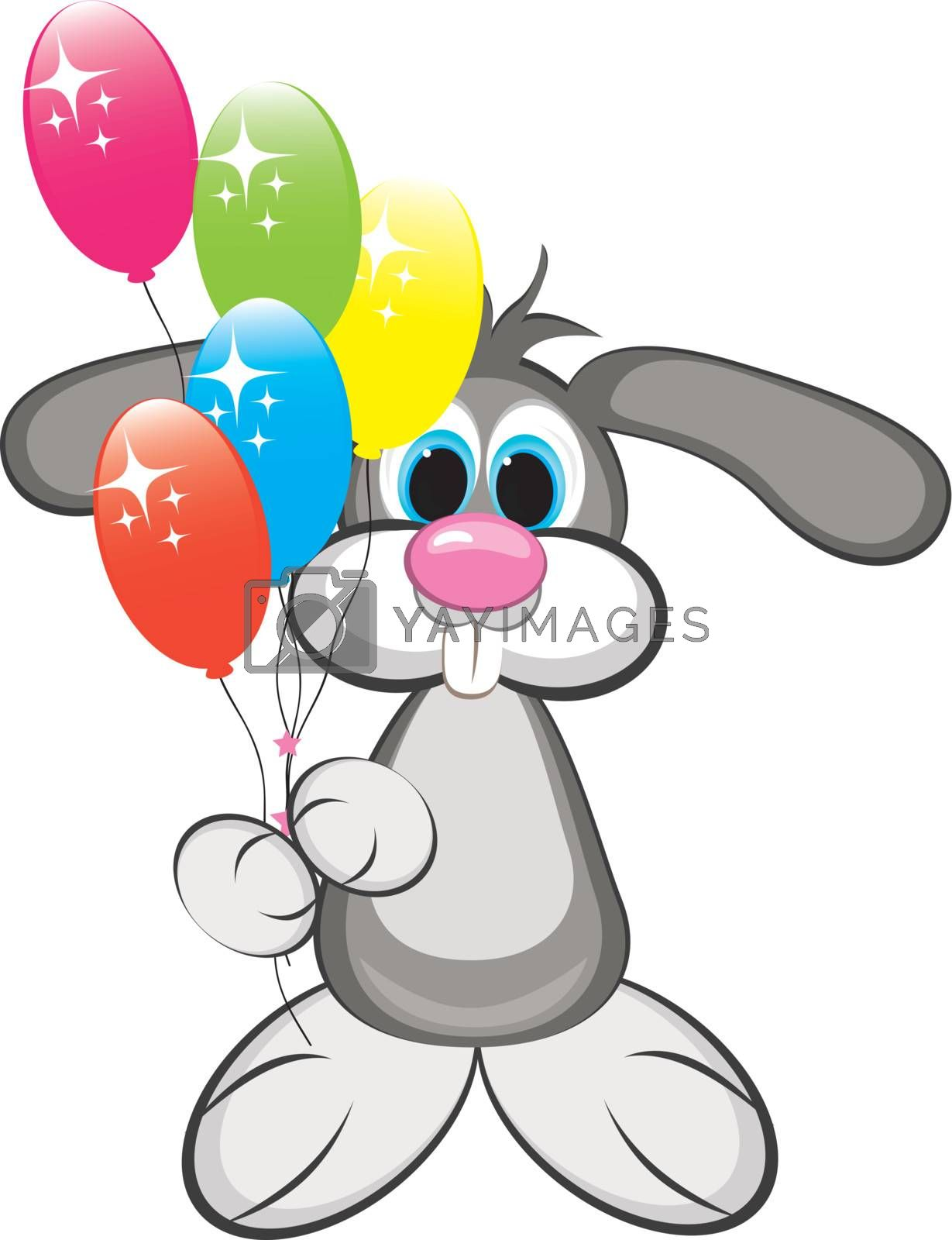 Cartoon rabbit with colorful balloons. Illustration on white background