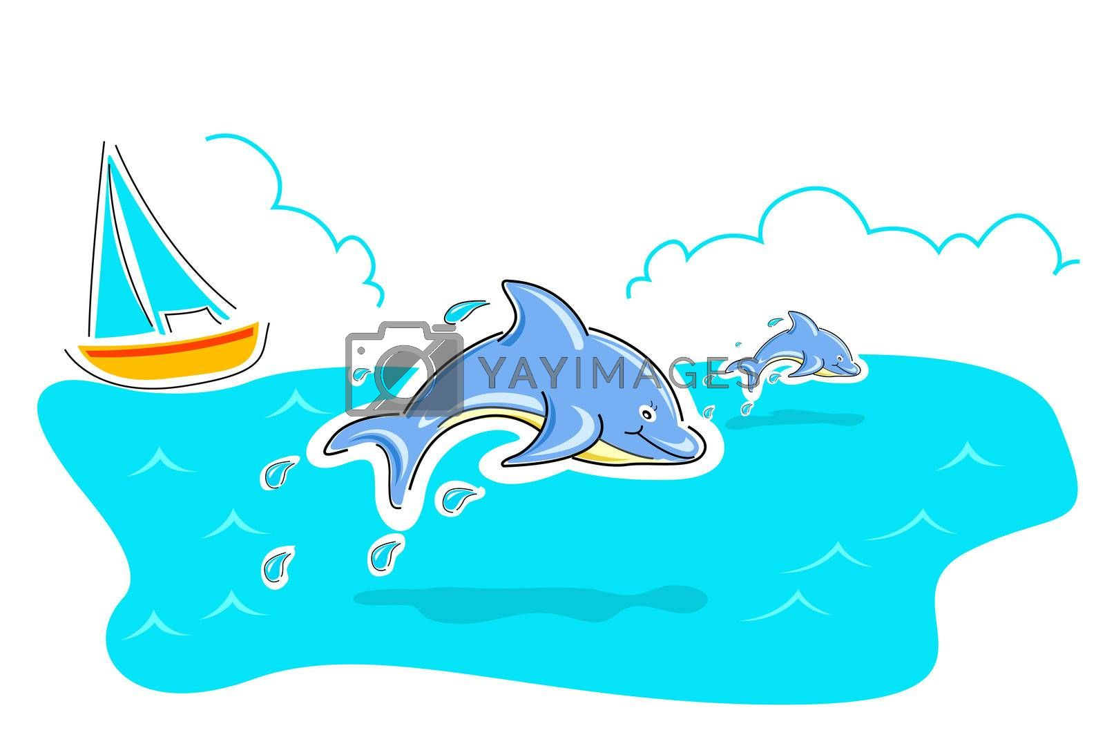 illustration of jumping dolphin in sea on white background