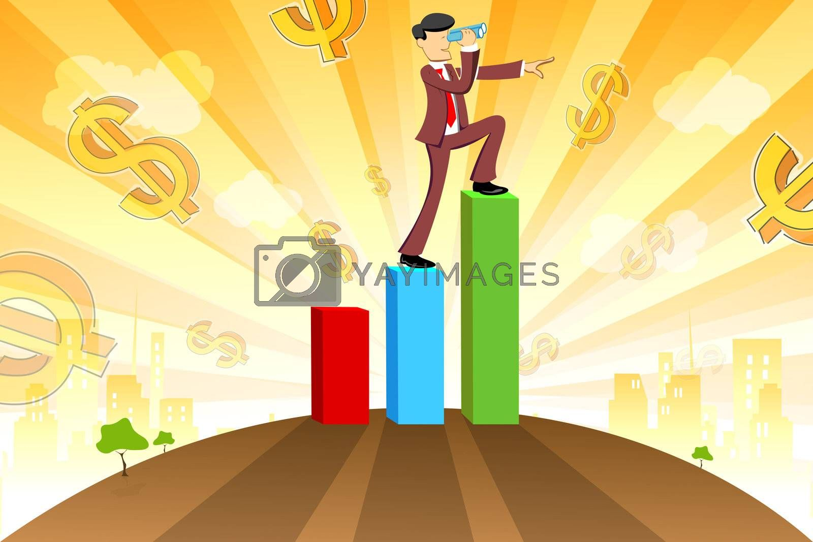 illustration of businessman with graph and dollar