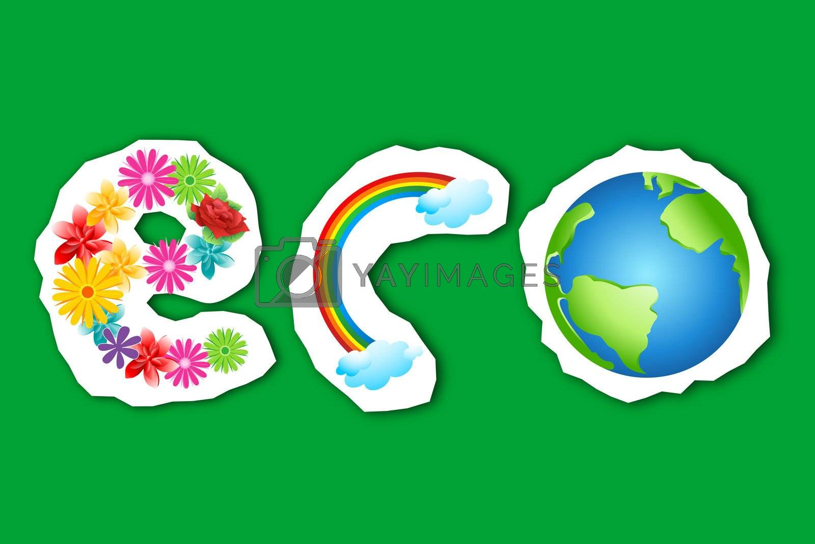 illustration of eco text in flower, rainbow and globe