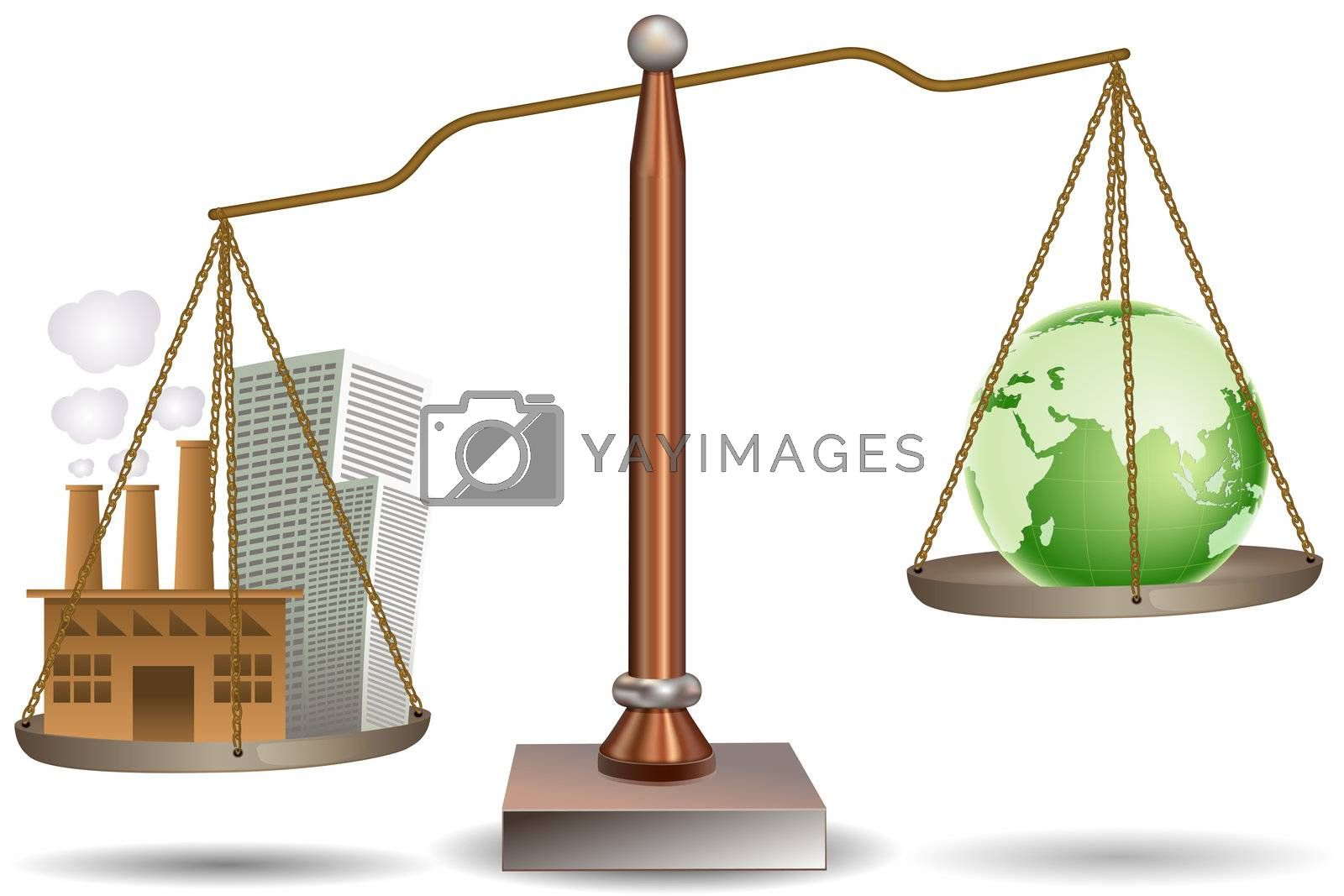 illustration of beam balence with globe and building on white background