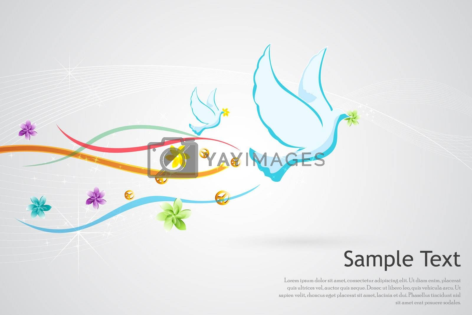 illustration of peace card on white background